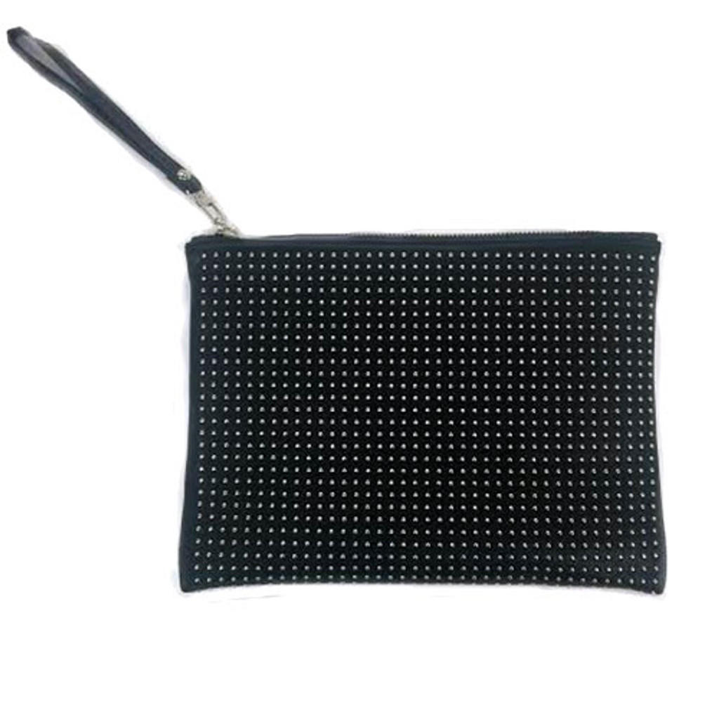 Silver Studded Black Zippered Clutch