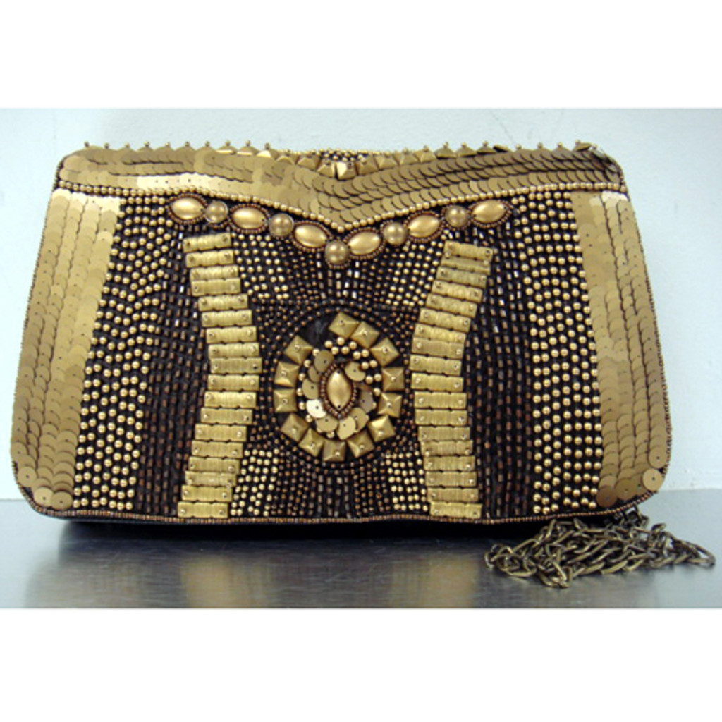 Burnished Gold Tone Beaded Clutch
