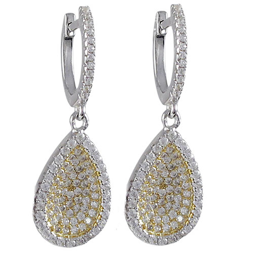 Yellow and White Gold Concave Teardrop