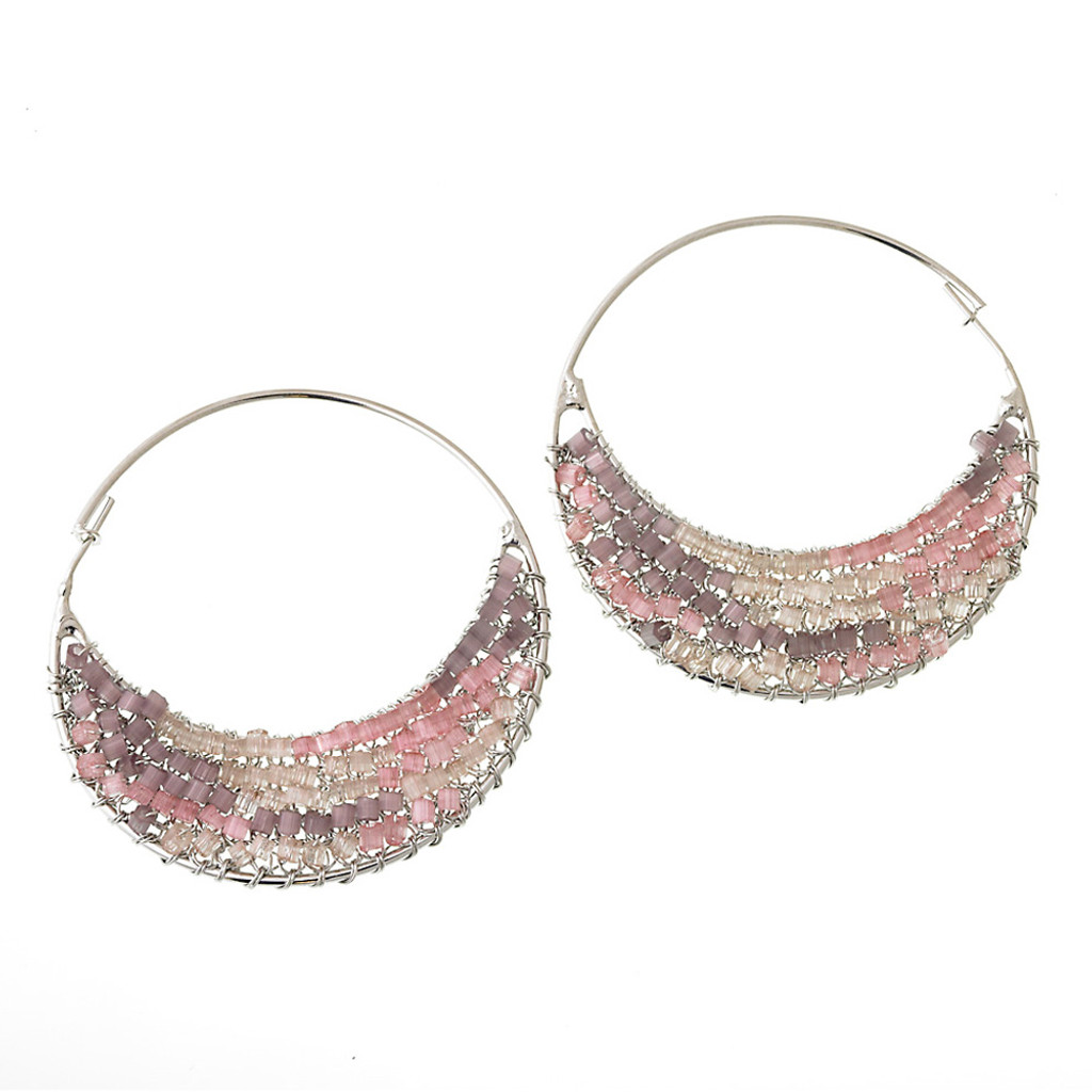 Pink Multi Crocheted Glass Beaded Hoop