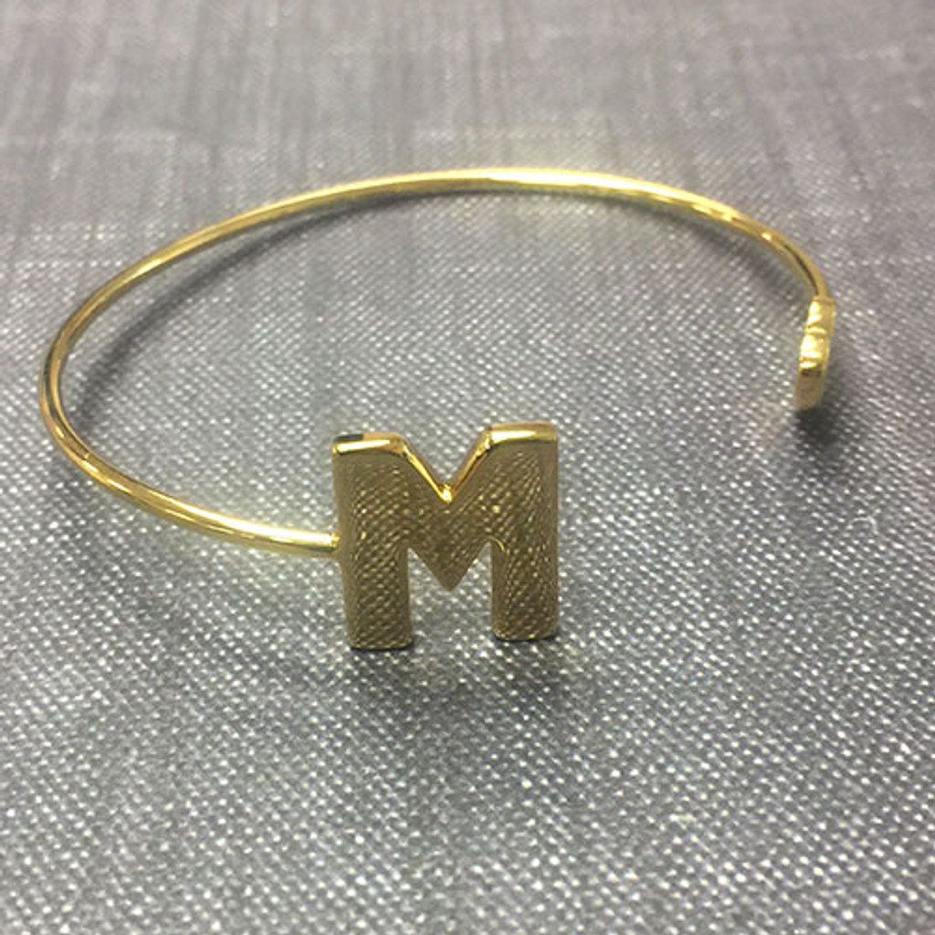 Large Gold Block Letter Initial Open Cuff