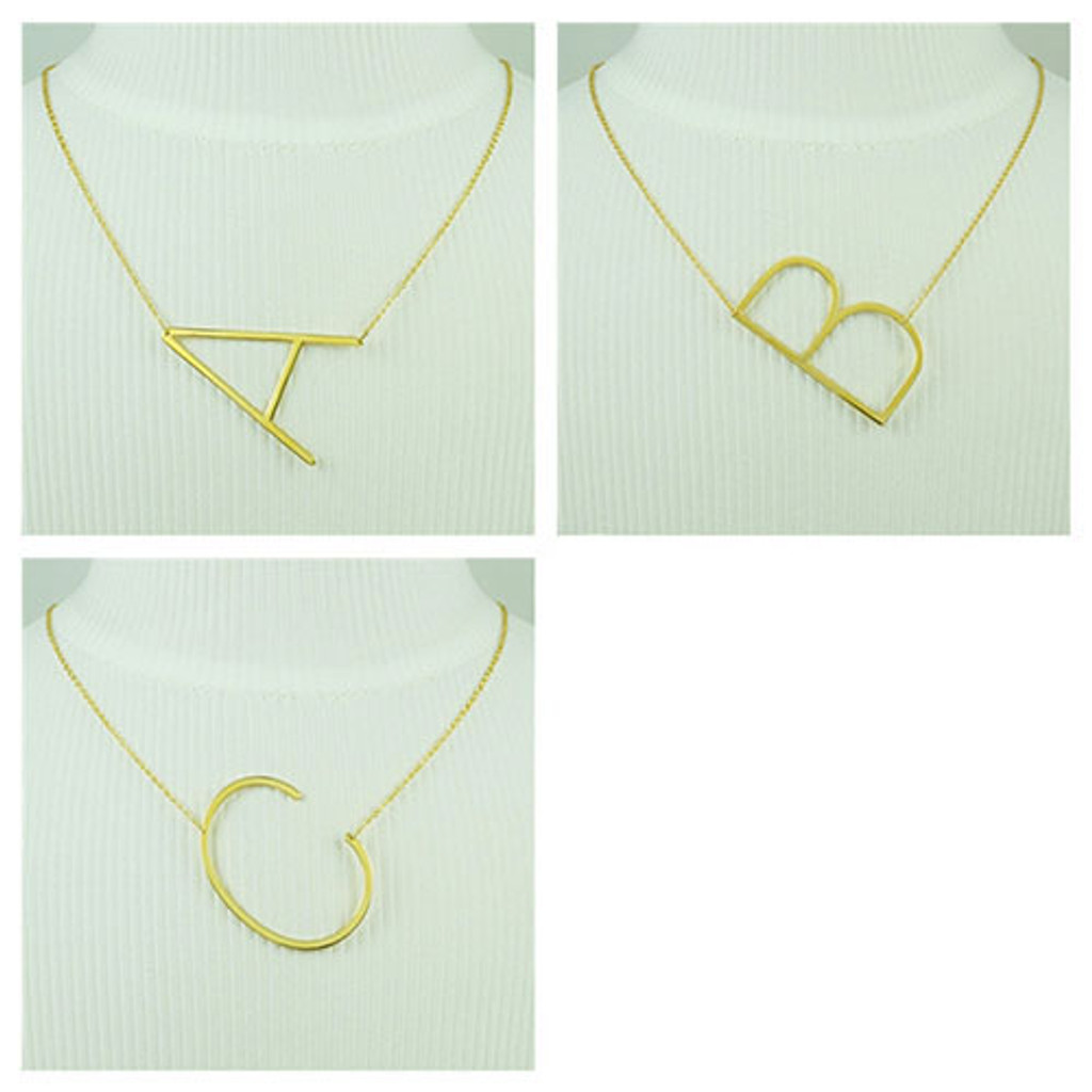 Our wonderful sideways large initial necklaces zoky doky our wonderful sideways large initial necklaces click here to enlarge aloadofball Images