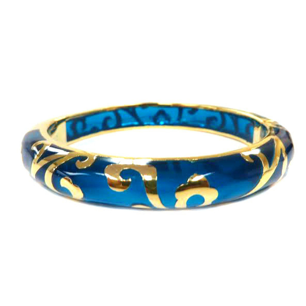 AHC's Turquoise and Gold Scrolled Bangle