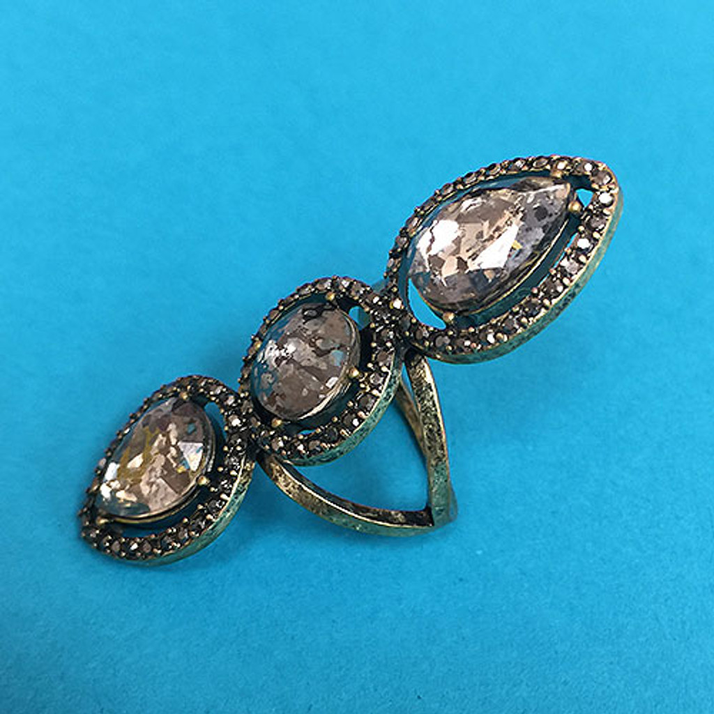 Heirloom Triple Pear Shaped Stone Ring