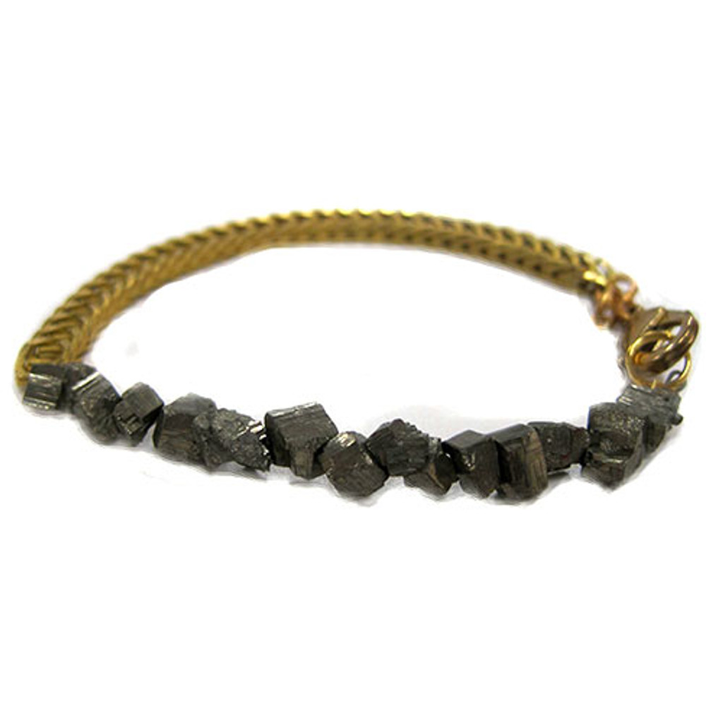 Pyrite and Vintage Chain Bracelet