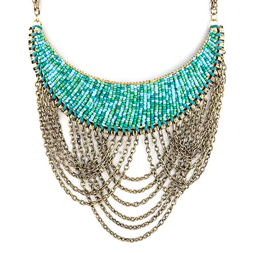 Seed Beads and Chains Bib Necklace in Turquoise