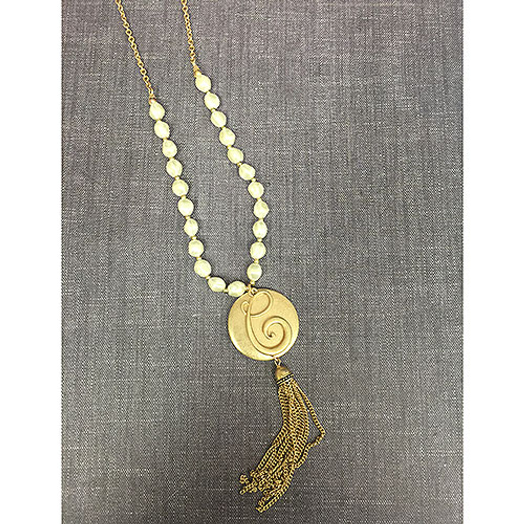 """Long 27"""" Monogram Initial Pearl and Tassel Necklace"""