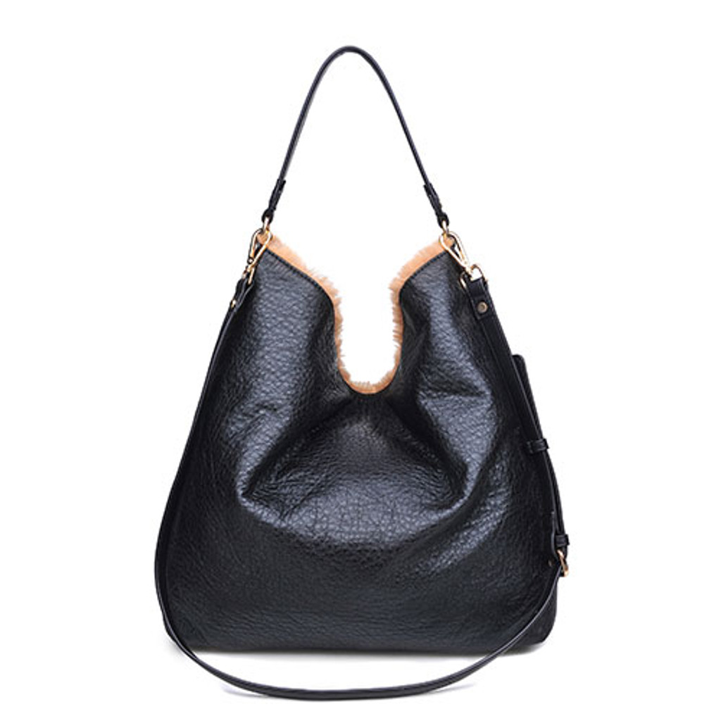 Reversible Fur Slouchy Hobo Black Bag