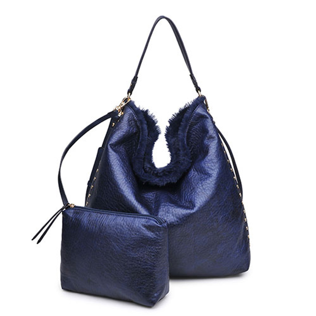 Reversible Fur Slouchy Hobo Bag in Navy