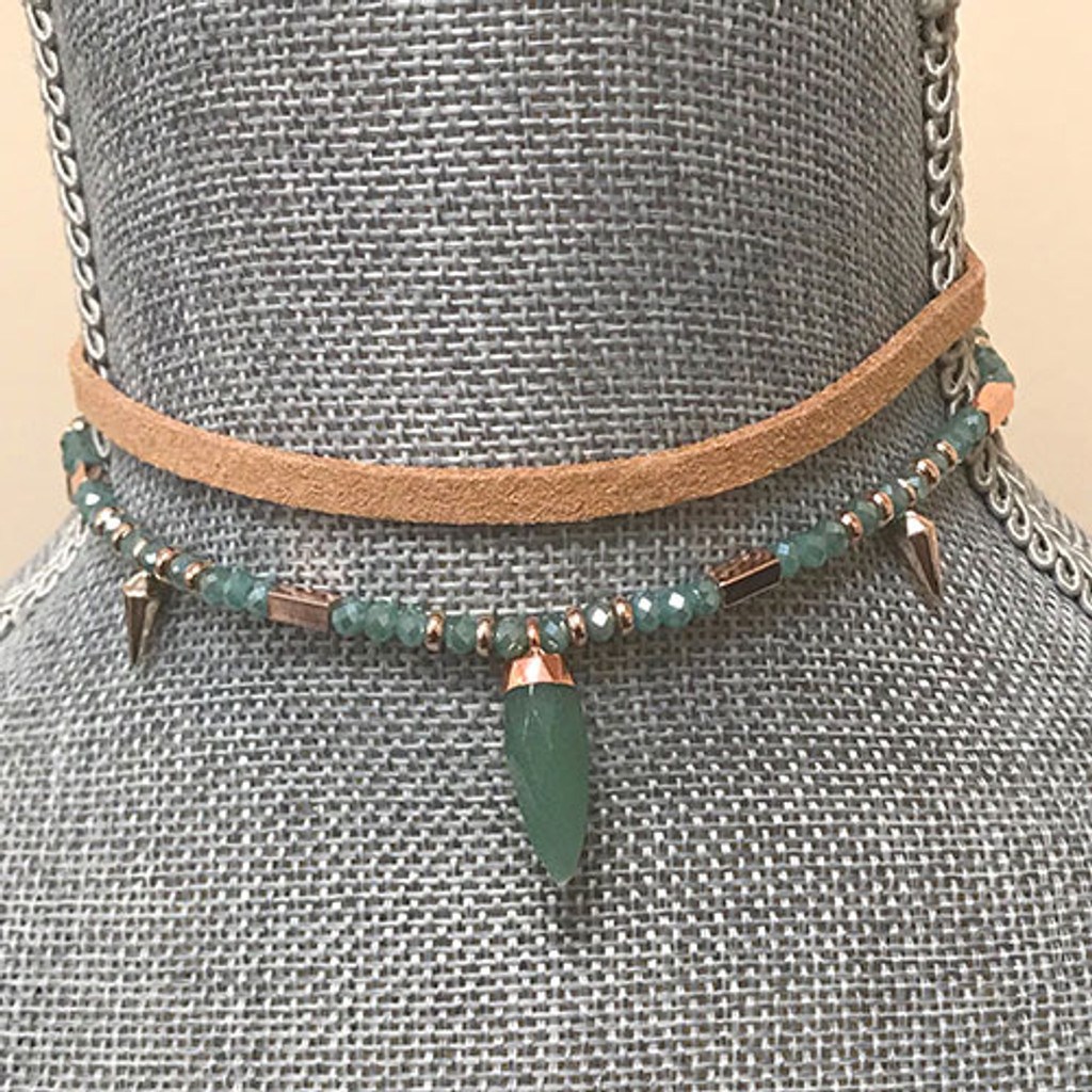 BEADED & SUEDE CHOKER WITH PENDANT