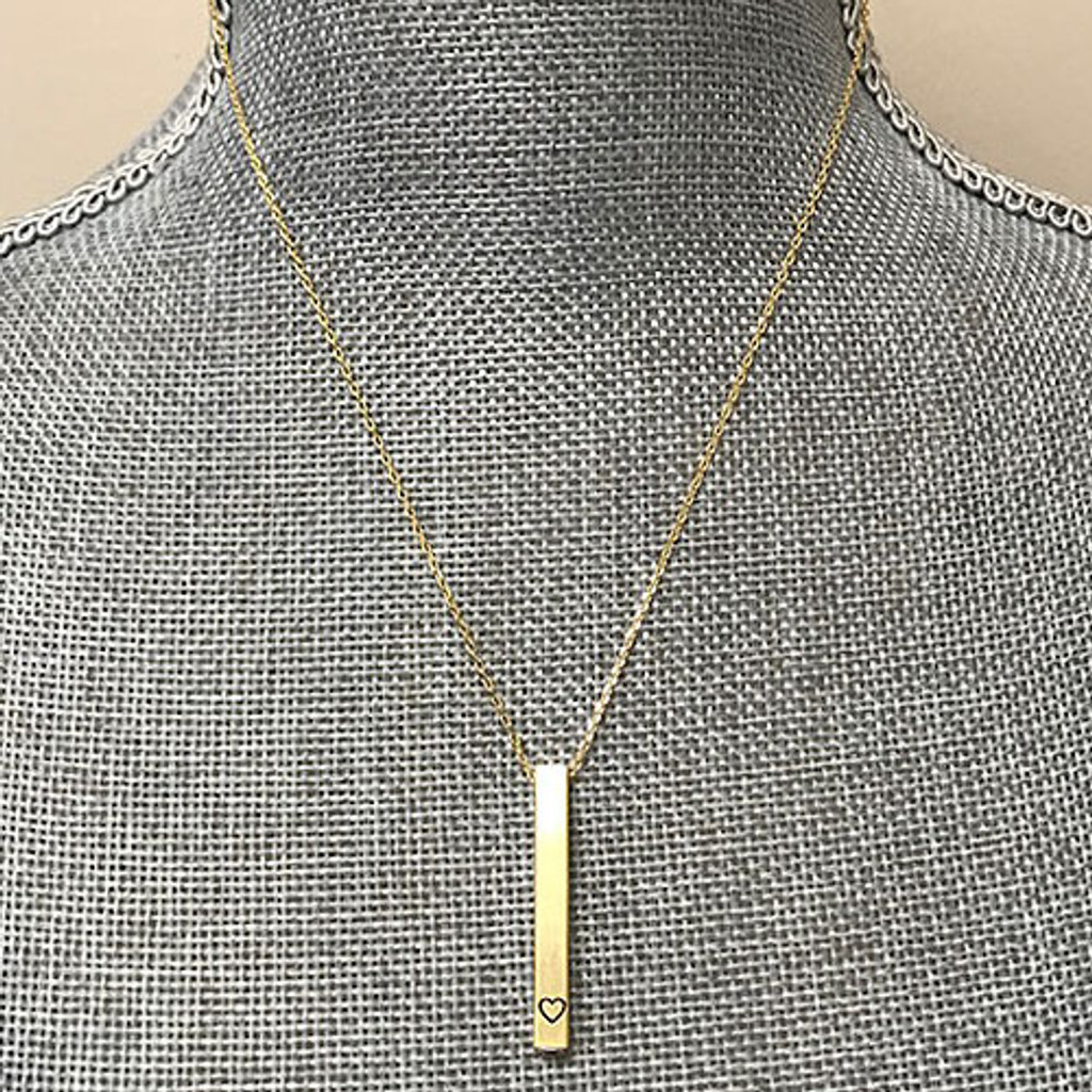 Secret Message Gold Bar with Heart Necklace