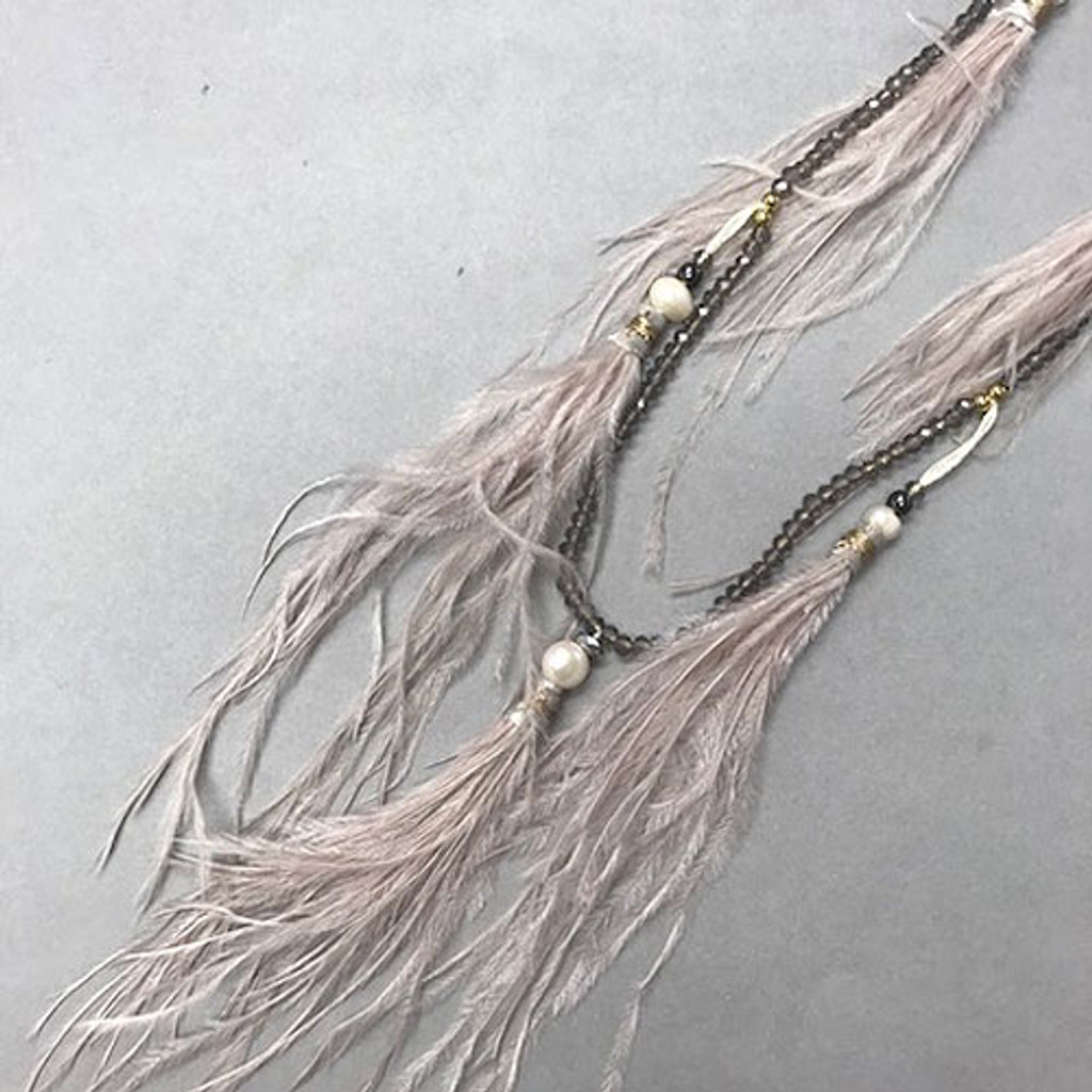 åÊOstrich Feather Tassel with Crystal Beads