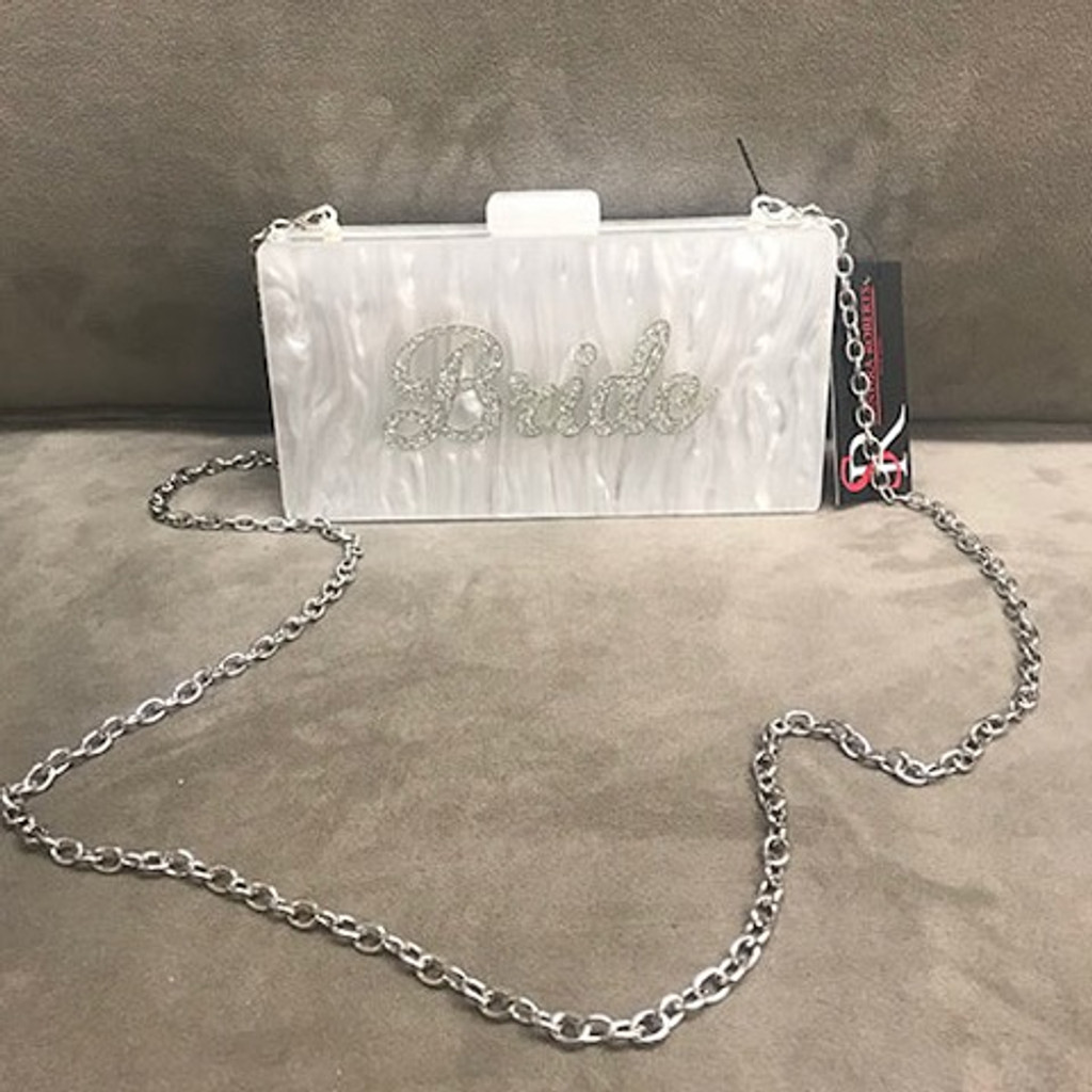 """Bride"" White Marbleized Resin Box Clutch"