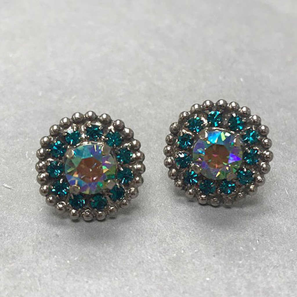 Mermaid Blue/Green Iridescent Crystal Post Earring