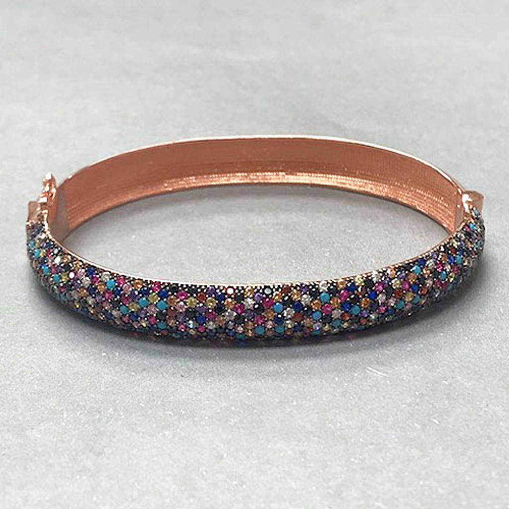 Wider Multi-Colored Crystal Rose Gold Vermeil Bracelet