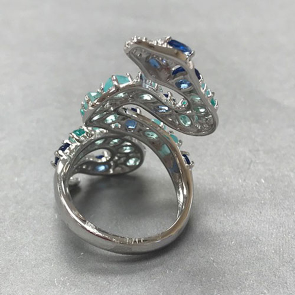 Hues Of Blue Sterling Silver Snake Ring