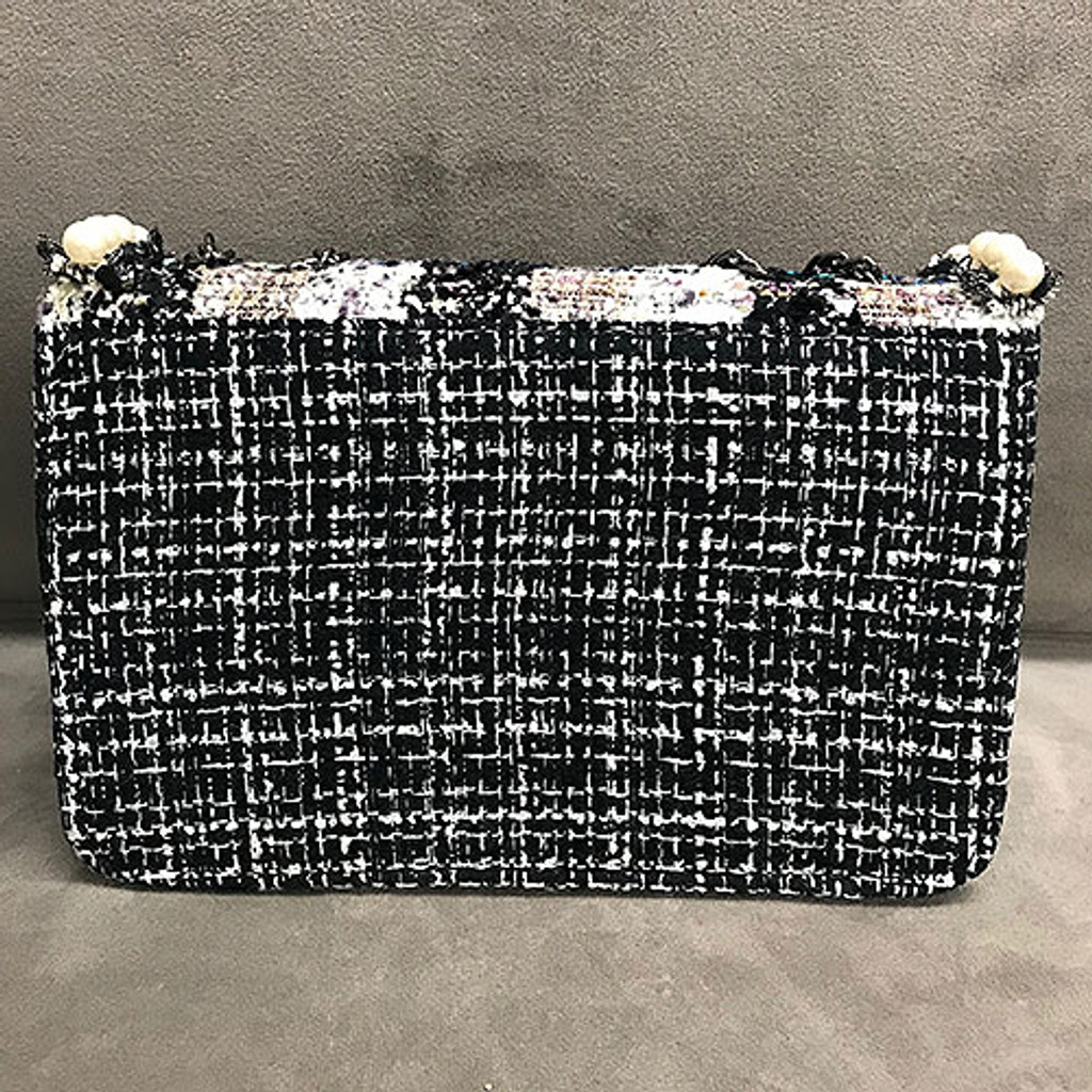 Sondra Roberts Nubby Boucle Tweed & Pearl Shoulder Bag
