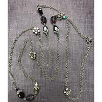 Antiqued Silver Long Gemstone and Crystal Necklace