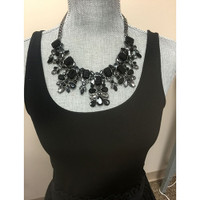 """Make A Statement"" Jet and Black Diamond Crystal Necklace"