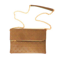 Taupe Embossed Fold over Clutch