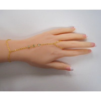 Three Crystals Gold Harness Bracelet