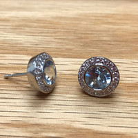Lafonn's Sky Blue Topaz Round Halo Earrings