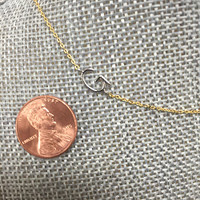 Petite Sideways Silver Initial on Gold Chain