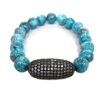Turquoise Agate Beads with Pave C.Z. Bead Bracelet