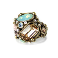 Crystal Pastel Deco Ring