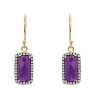 Amethyst Hanging Rectangle Earring