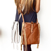 Sondra Roberts Grey Leather/Suede Fringe Cross Body