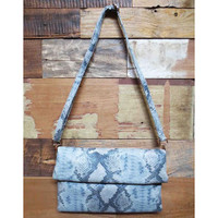 Faux Python Oversized Fold Over Clutch
