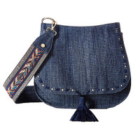 Steve Madden Denim Saddle Bag with Boho Guitar Strap