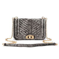 Slate Taupe Crushed Velvet Quilted Shoulder Bag
