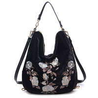 Floral Embroidered Velvet Shoulder/CrossBody Black