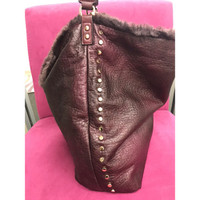 Reversible Fur Slouchy Hobo Bag in Burgendy