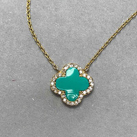 Turquoise Enamel Flower in .925 Sterling Vermeil Necklace