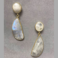 Polished Moonstone Quartz Gemstone Drop Earrings