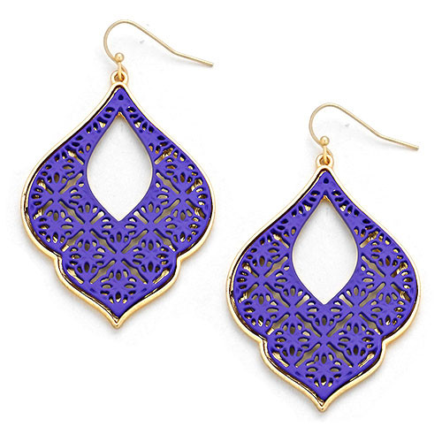 Purple Filigree Earring