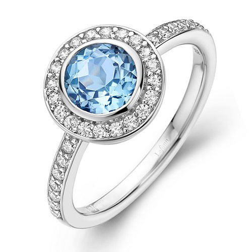 Round Sky Blue Topaz Halo Ring