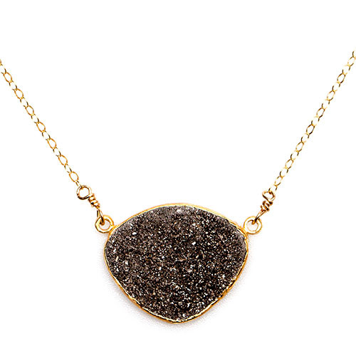 Silvery Gray Rounded Triangle Druzy Necklace