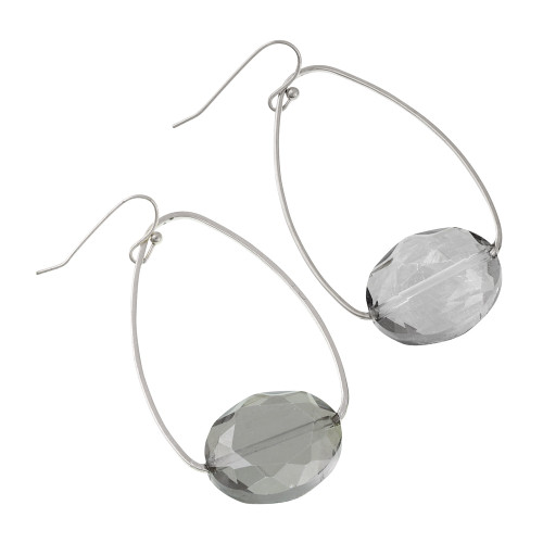 Black Diamond  Crystal on a Silver Oval Hoop Earring