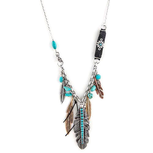 Patina Feathered Charm Dangle Necklace 1