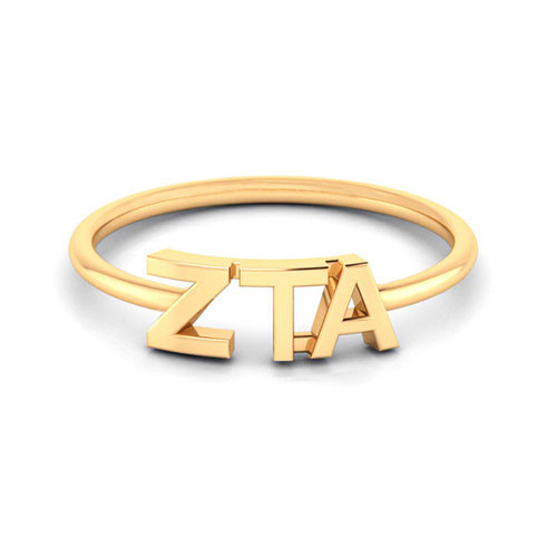 Zeta Tau Alpha Gold Thin Band Letter Ring