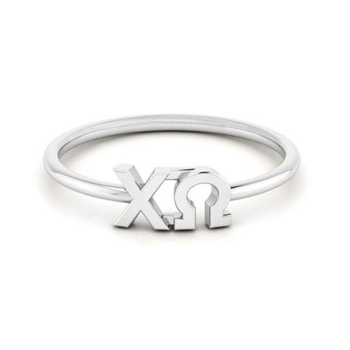 Chi Omega Silver Thin Band Letter Ring