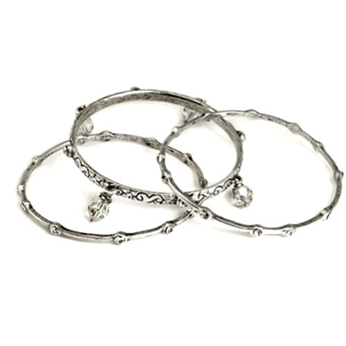 Set of Three Antiqued Silver Bangles