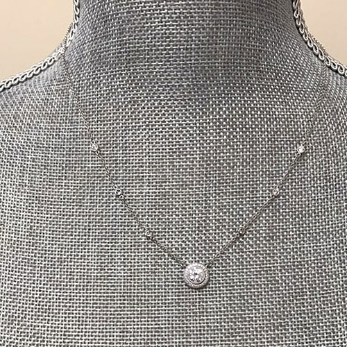 Lafonn's Simulated Diamond Round Stud with Pave Border Necklace