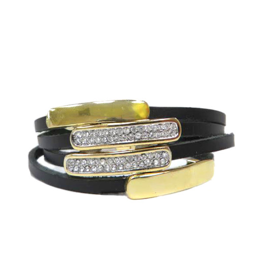 Bars on Leather Magnetic Bracelet