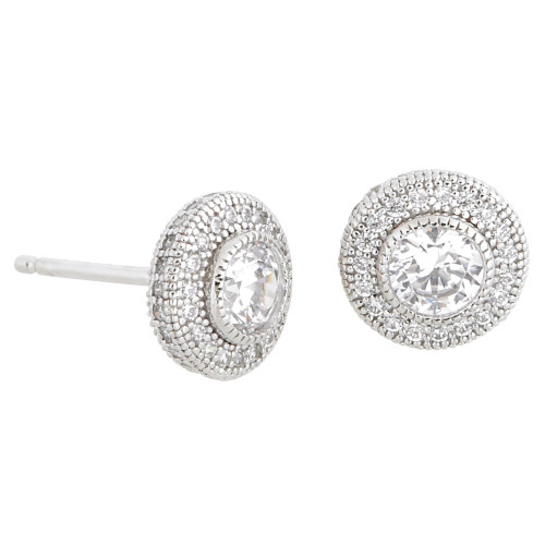 Lafonn's Classic Simulated Diamond Round Stud with Pave Border
