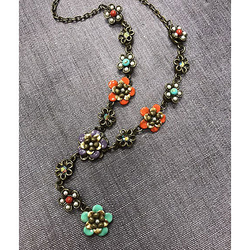 String of Enamel Flowers Necklace